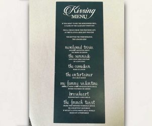 Kissing Menu