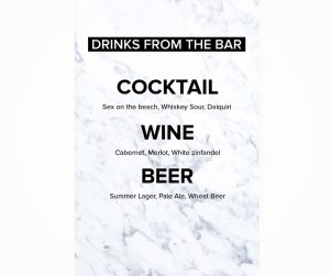 Bar Menu Option 1