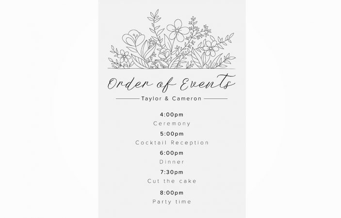 Order of Events Option 10